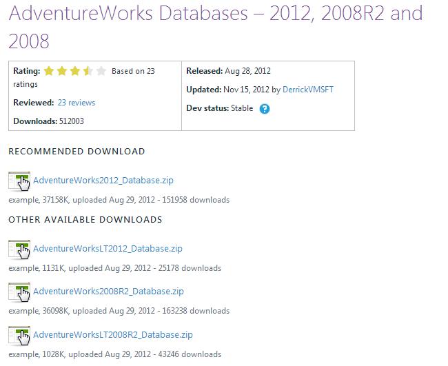 Ms SQL Server _ AdventureWorks 설치,예제 DB설치 : 네이버 블로그