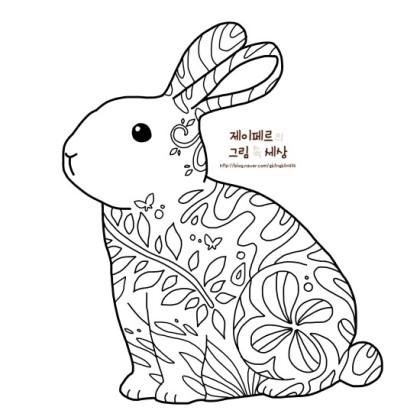 컬러링 도안 공유 귀여운 토끼 캐릭터 색칠공부 네이버 블로그