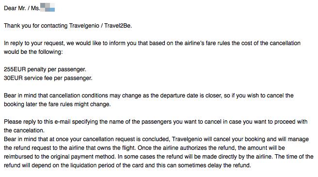 Travelgenio / Travel2be 여행사 환불 후기: 24시간 이내에 취소